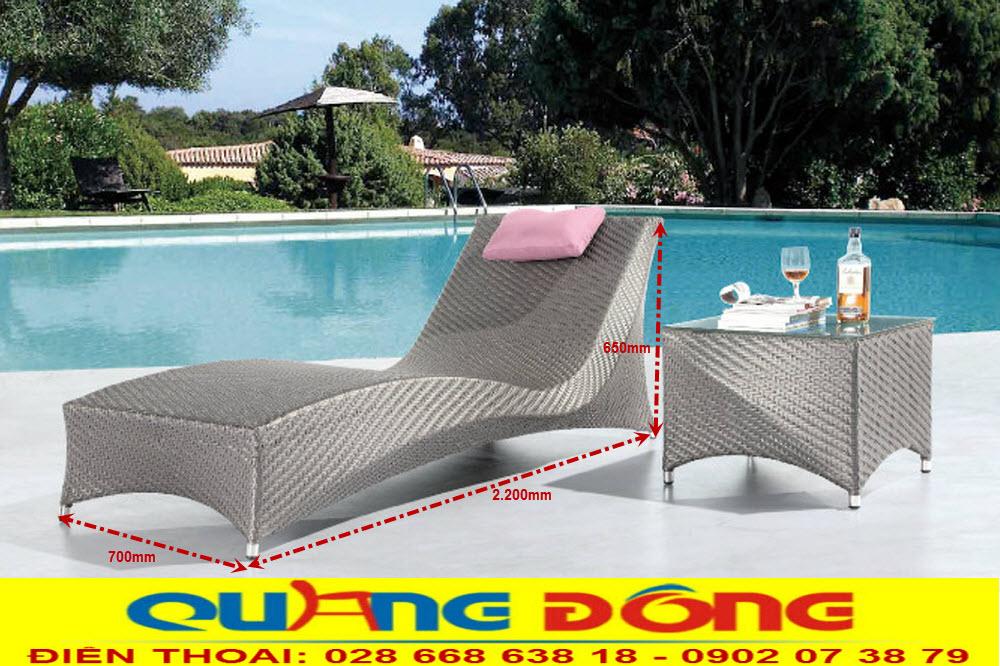 Mẫu giường tắm nắng cho bể bơi bằng nhựa giả mây, Ghế nằm hồ bơi QD-1238