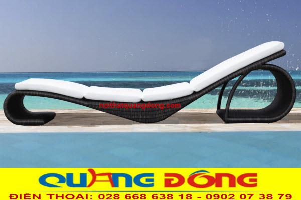Ghế nằm hồ bơi đan sợi nhựa giả mây bản tròn bền đẹp, chịu mưa nắng kháng nước muối biển