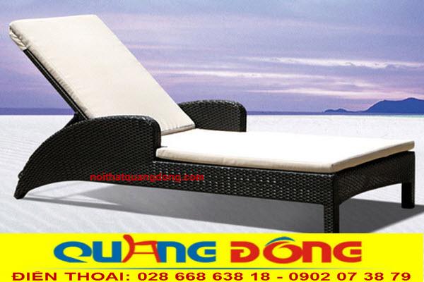 Giường tắm nắng giả mây dùng cho bể bơi, mẫu ghế nằm hồ bơi QD-1243
