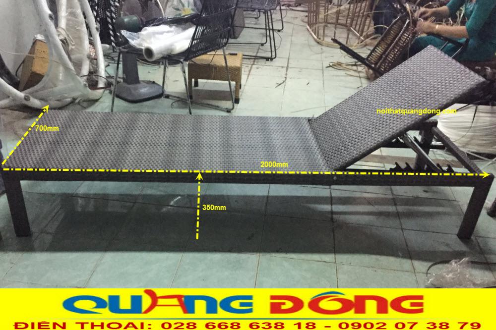 Quy cách chuẩn mẫu ghế nằm hồ bơi QD-1247, cung cấp bởi NỘI THẤT QUANG ĐÔNG