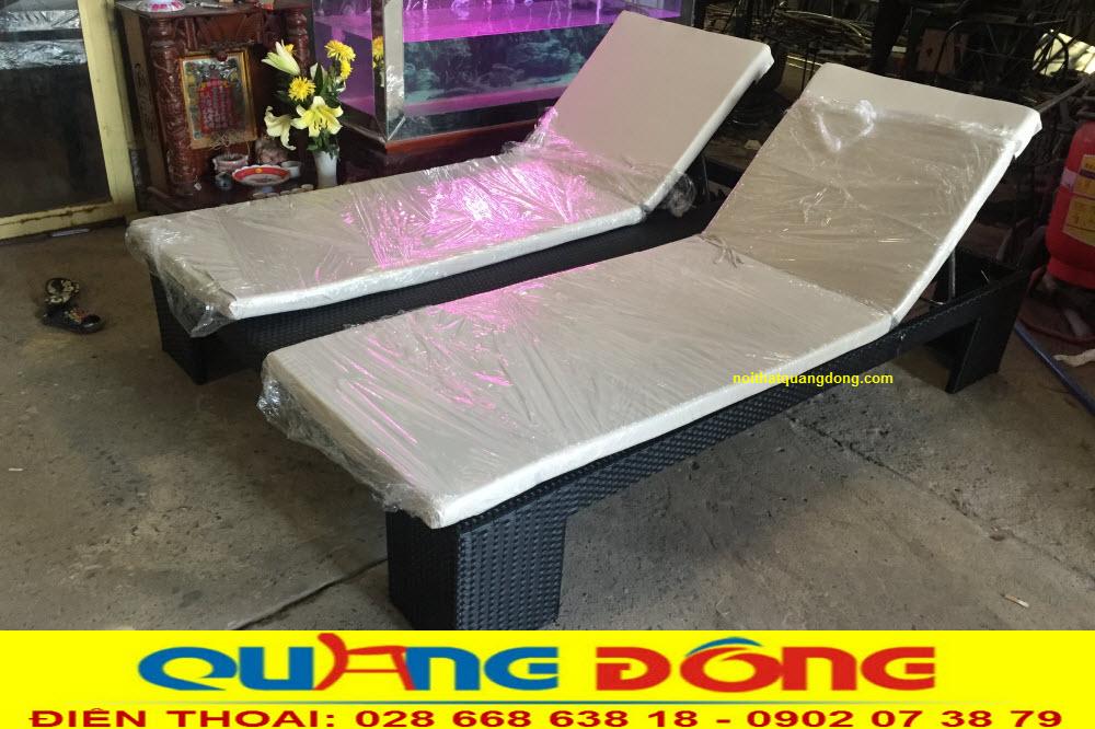 Ghế nằm hồ bơi đôi QD-507 sản phẩm thuộc dòng ghế hồ bơi giả mây cao cấp