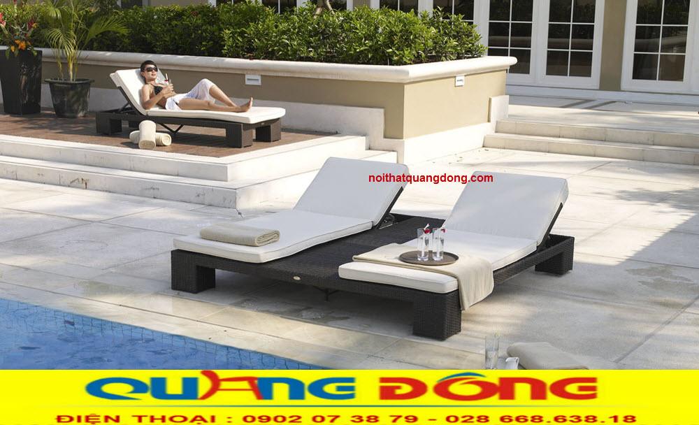 Ghế hồ bơi dùng cho 2 người mẫu giường tắm nắng giả mây cho khu vực bể bơi khách sạn, khu resort