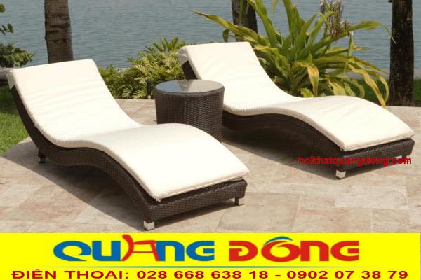 Ghế nằm hồ bơi-giường tắm nắng giả mây kiểu dáng đẹp, độ bền cao tính chịu mưa nắng giá tốt tại xưởng