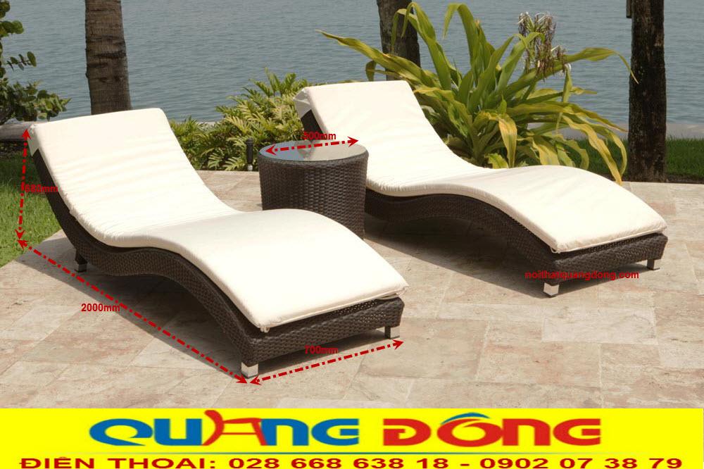 Kích thước tiêu chuẩn mẫu ghế nằm hồ bơi QD-576