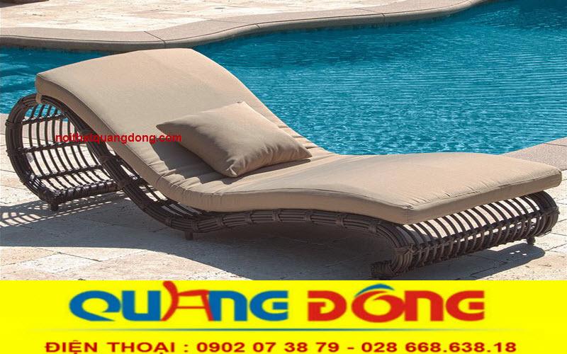 Ghế hồ bơi giả mây tre, mẫu ghế thư giãn tắm nắng cho bể bơi tuyệt đẹp