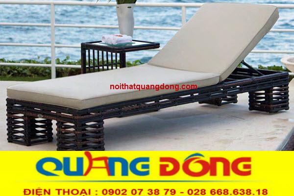Ghế nằm hồ bơi giả mây tre sản phẩm chuyên dụng ngoài trời khu vực bể bơi công dụng thư giãn tắm nắng tuyệt vời