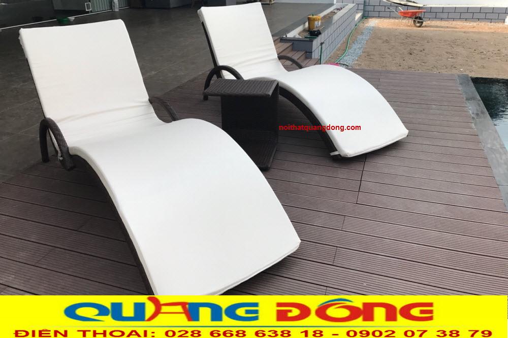 Giường tắm nắng bằng nhựa giả mây dùng cho bể bơi, mẫu ghế nằm hồ bơi QD-590