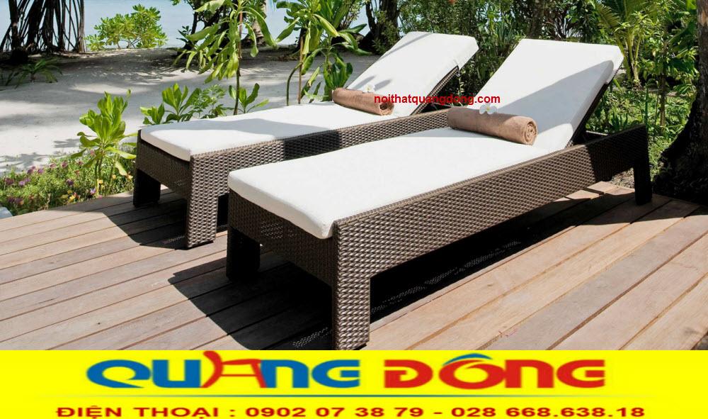 Ghế hồ bơi giường tắm nắng giả mây mẫu mới đẹp lạ, công ty sản xuất bàn ghế giả mây cho khu resort