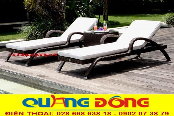 Mẫu giường tắm nắng giả mây đẹp cho bể bơi, Ghế hồ bơi QD-595 kiểu dáng mới lạ bền đẹp chịu mưa nắng
