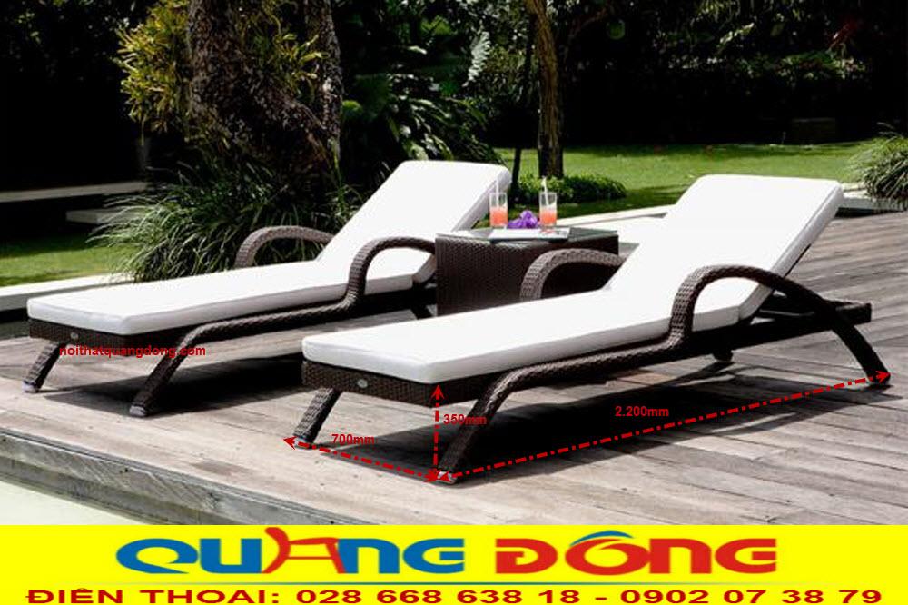 Ghế hồ bơi QD-595 bằng nhựa rattan