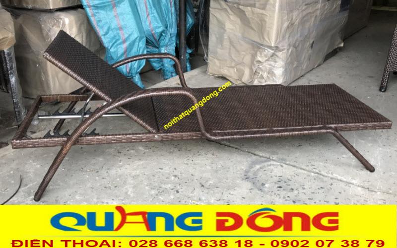 Ghế hồ bơi giả mây QD-595 không dùng nệm lót, ghi hình tại Nội Thất Quang Đông