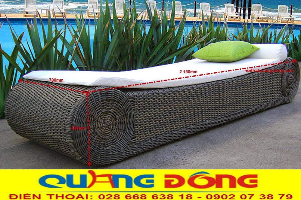 Giường nằm hồ bơi bể bơi bằng nhựa giả mây, mẫu ghế hồ bơi QD-596