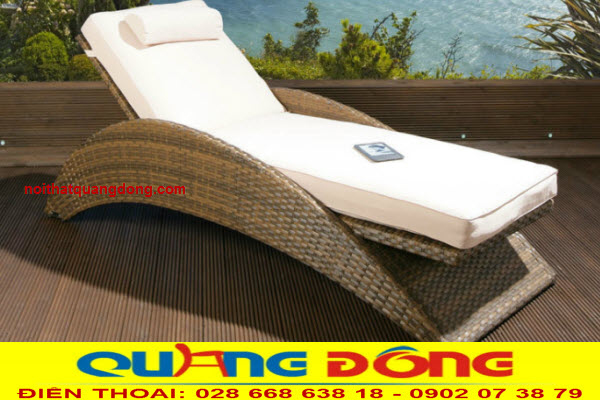 Mẫu giường tắm nắng dùng cho bể bơi đẹp, Ghế hồ bơi QD-597 giả mây với kiểu dáng hoàn toàn mới lạ đẹp mắt