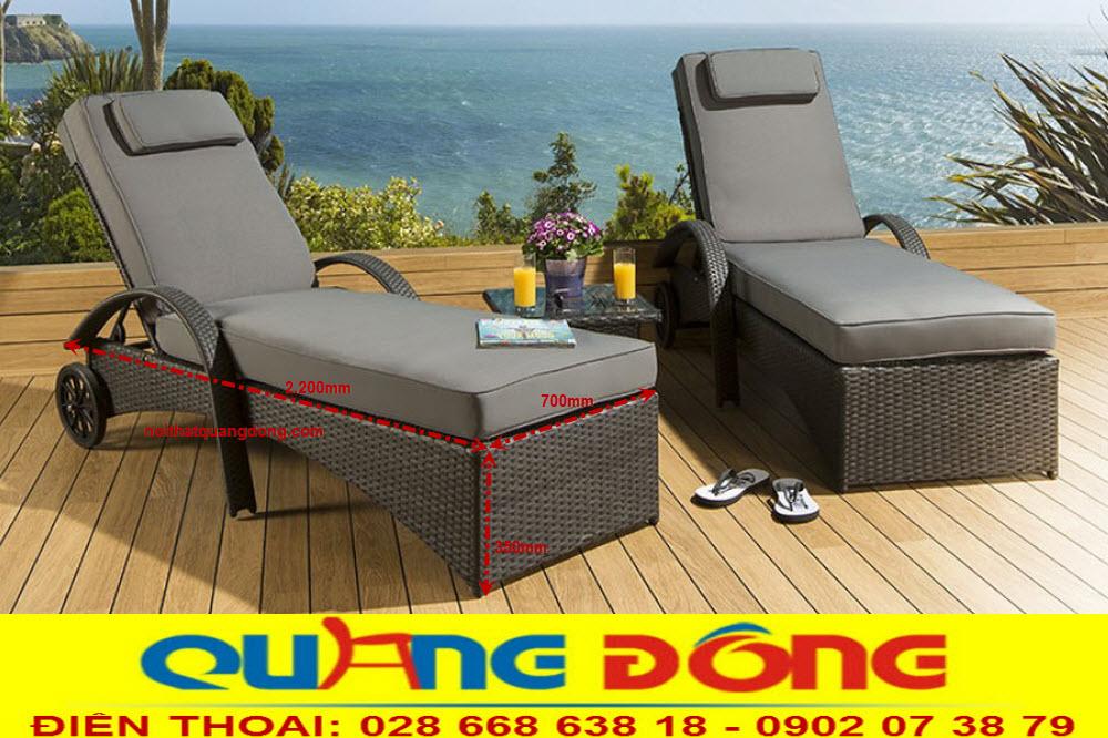 Mẫu giường tắm nắng cho khách sạn khu resort, Ghế nằm hồ bơi QD-598