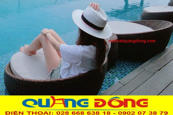 Mẫu ghế nằm hồ bơi ngâm dưới nước,  ghế hồ bơi giả mây