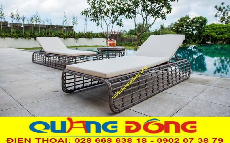 Ghế nằm thư giãn tắm nắng cho hồ bơi bằng nhựa giả mây cao cấp đan thủ công