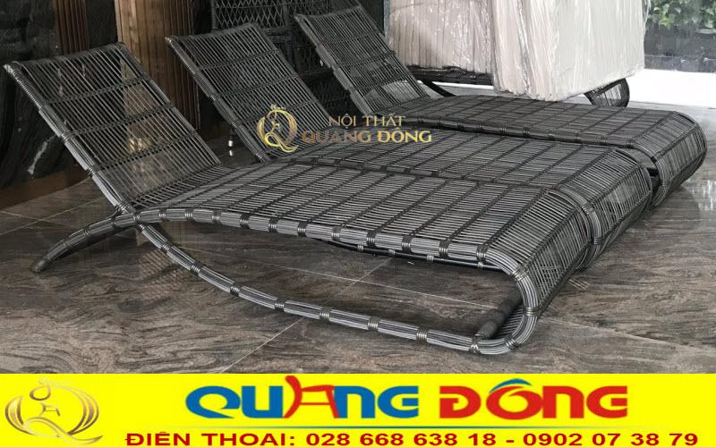 Chi tiết sợi mây nhựa mẫu ghế nằm hồ bơi QD-563 không dùng nệm lót