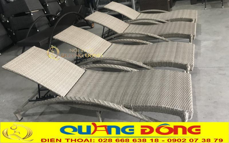Xưởng sản xuất ghế nằm hồ bơi giả mây tại hcm, mẫu ghế nằm hồ bơi QD-566 ghi hình thực tế tại xưởng Nội Thất Quang Đông