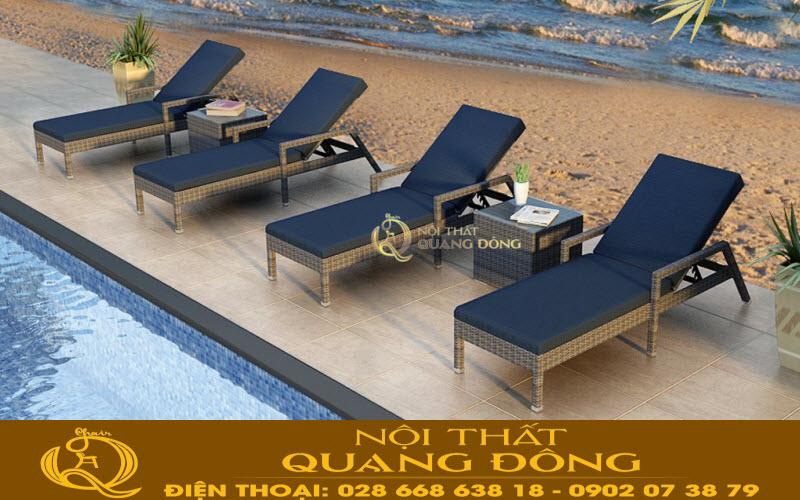 Ghế nằm thư giãn tắm nắng cho hồ bơi, bãi biển đan sợi mây nhựa có hoạt chất kháng tia UV chịu mưa nắng, đặc biệt rất êm và thoáng ngay cả khi không dùng tới nệm lót