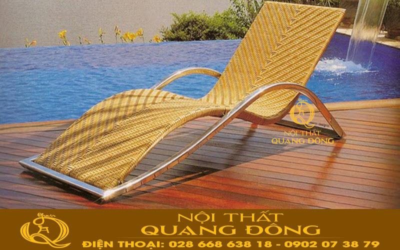 Mẫu ghế nằm hồ bơi giả mây QD-580
