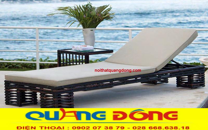 Ghê hồ bơi giả mây tre bền đẹp, công ty sản xuất ghế nằm hồ bơi giường tắm nắng tại hcm