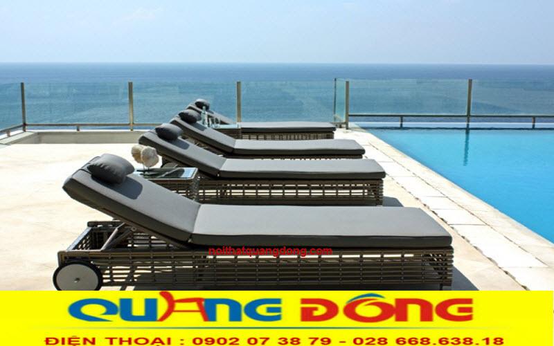 Mẫu ghế nằm hồ bơi giả mây tre tự nhiên tuyệt đẹp cho bể bơi, vật dụng ghế tắm nắng cho bể bơi