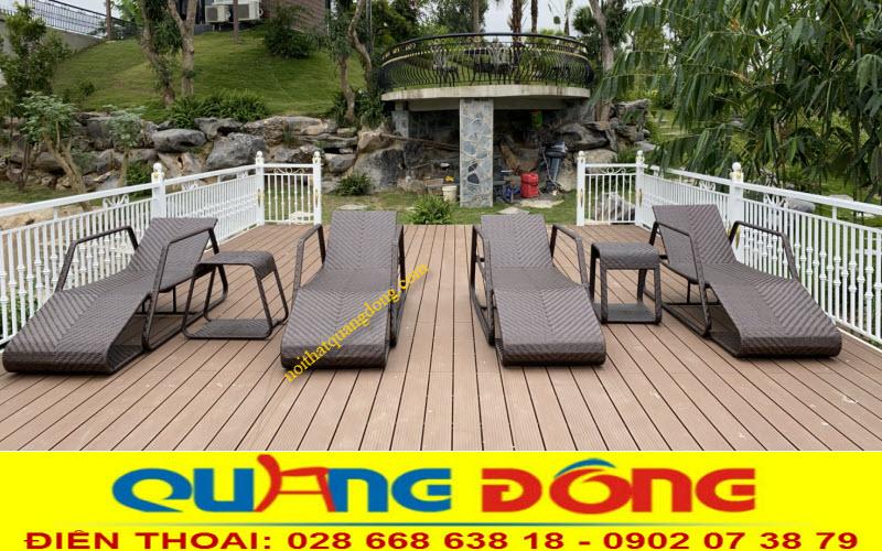 Ghế nằm hồ bơi đan sợi mây nhựa có hoạt chất kháng UV tai cực tím chịu mưa nắng tốt