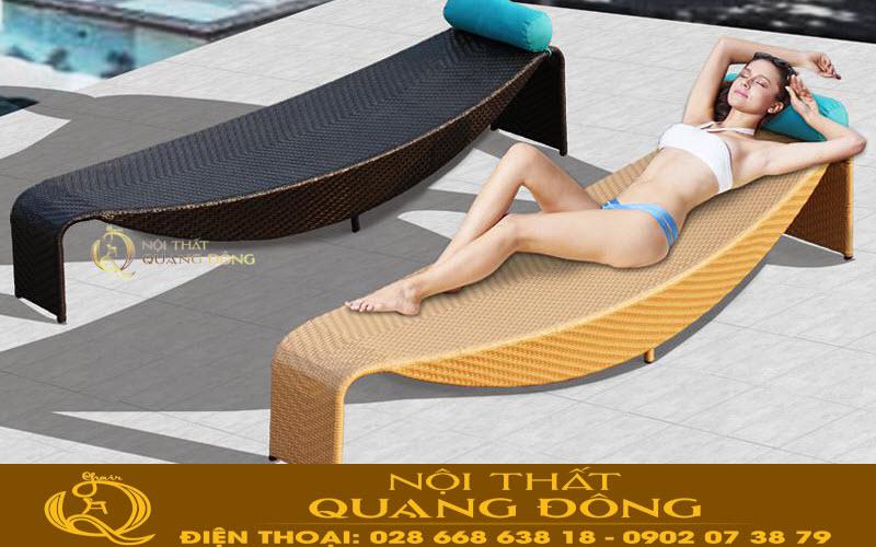 Mẫu ghế nằm hồ bơi QD-593 khung nhôm đan sợi nhựa giả mây kháng UV tia cực tím chịu mưa nắng