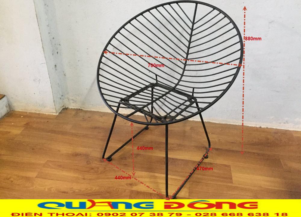 Thông tin chi tiết kích thước tiêu chuẩn mẫu ghế sắt QD-06