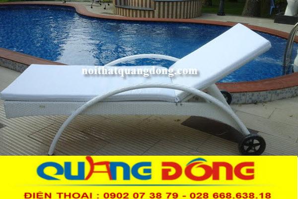 Ghế nằm hồ bơi giả mây màu trắng tuyệt đẹp, Ghế hồ bơi giả mây QD-084