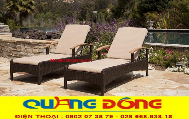 Mẫu ghế thư giãn tắm nắng cho bể bơi bằng nhựa giả mây, ghế hồ bơi QD-249