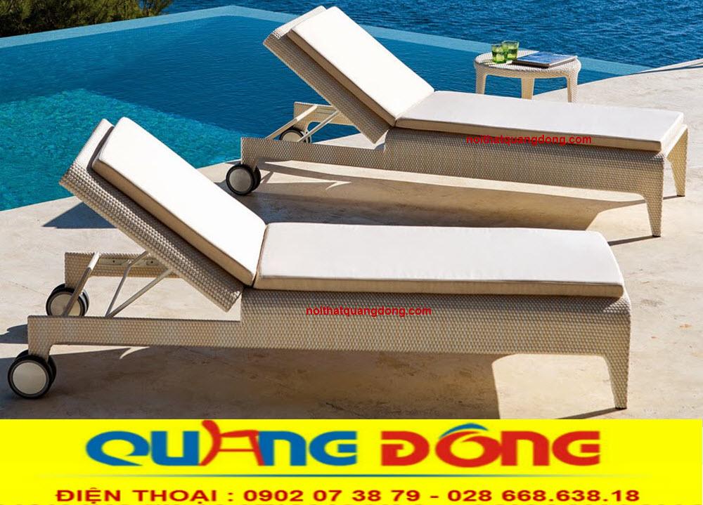 Ghế hồ bơi giả mây sản phẩm thư giãn tắm nắng cho bể bơi khách sạn , khu resort kiểu dáng mới bền đẹp chịu mưa nắng