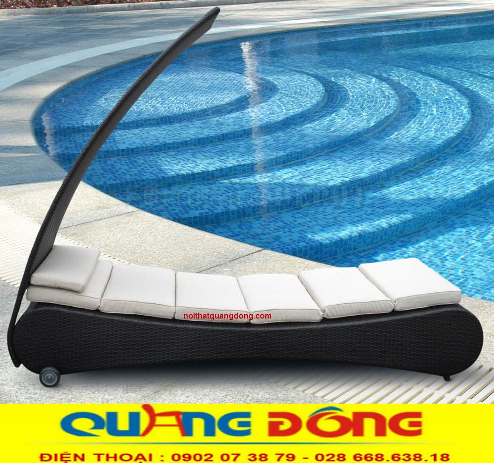 Ghế hồ bơi giả mây QD-504 kiểu dáng mới lạ đẹp mắt, khả năng chịu mưa nắng, nơi sản xuất ghế hồ bơi giả mây