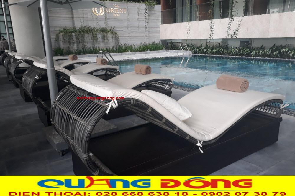 Mẫu ghế nằm hồ bơi QD-579 kiểu dáng mới lạ đẹp mắt, NỘI THẤT QUANG ĐÔNG cung cấp cho khách sạn NEW ORIENT HOTEL đà nẵng