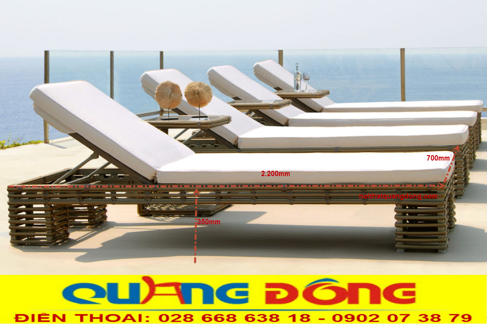 Mẫu giường tắm nắng dùng cho bể bơi khách sạn khu resort,