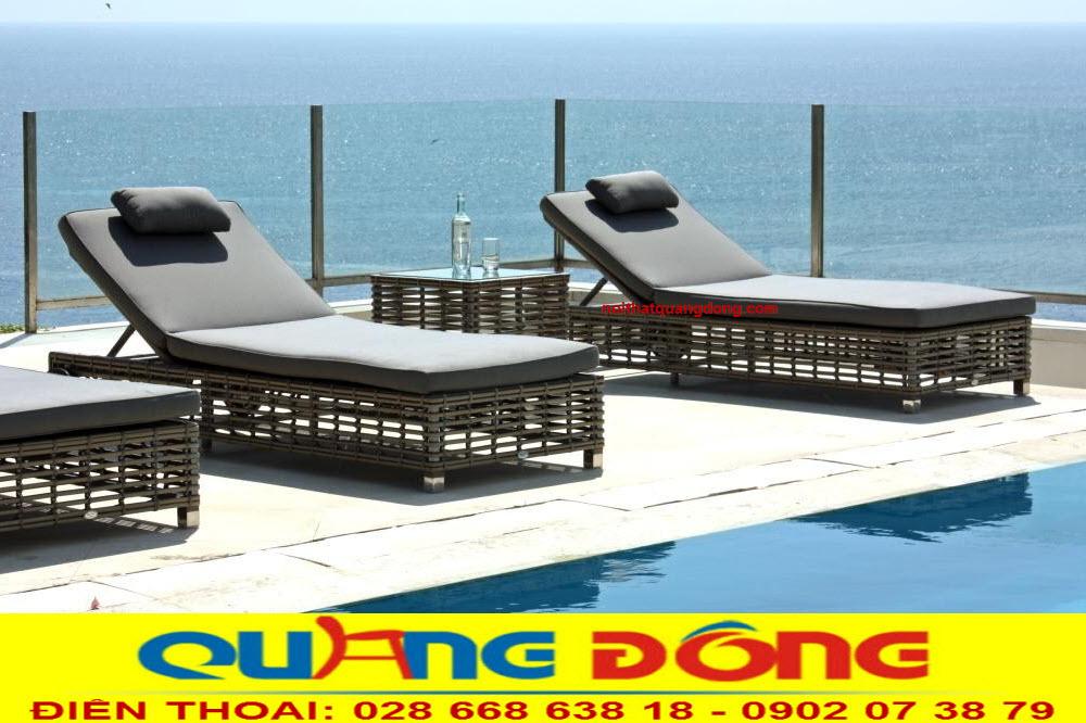 Mẫu ghế nằm hồ bơi, giường tắm nắng thư giãn cho khu resort khách sạn