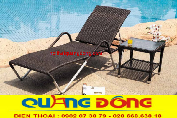 Ghế hồ bơi giả mây cho khách sản khu resort, ghế nằm hồ bơi giá tốt tại xưởng