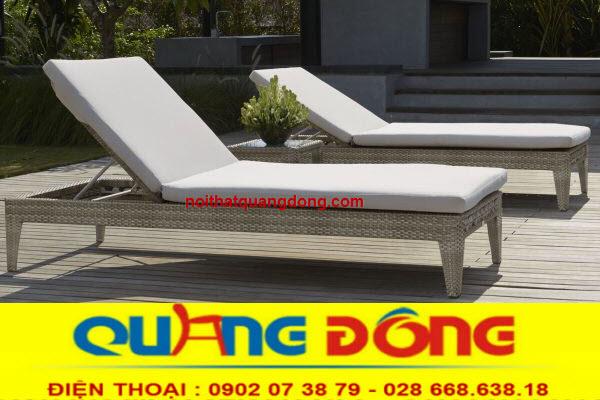 Ghế nằm hồ bơi thư giãn tắm nắng bằng nhựa giả mây bền đẹp giá tốt tại xưởng sản xuất