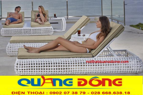 Mẫu ghế thưu giãn tắm nắng cho hồ bơi, bể bơi tuyệt đẹp bằng nhựa giả mây