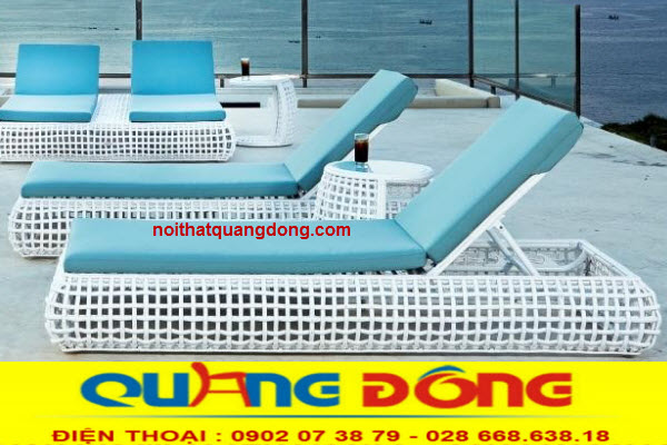 Ghế nằm hồ bơi thư giãn tắm nắng giả mây cao cấp bền đẹp chất lượng