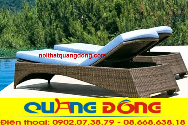 Ghế hồ bơi thư giãn tắm nắng bằng nhựa ratan giả mây bền đẹp chất lượng