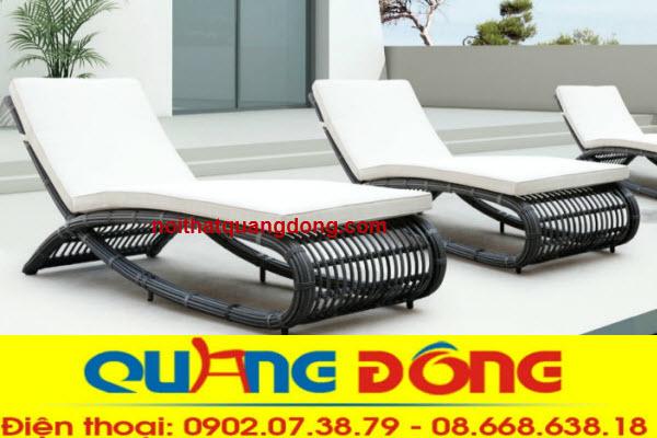 Ghế nằm hồ bơi, ghế tắm nắng giả mây mẫu mã đẹp giá bán tại xưởng Công Ty tnhh Nội Thất Quang Đông