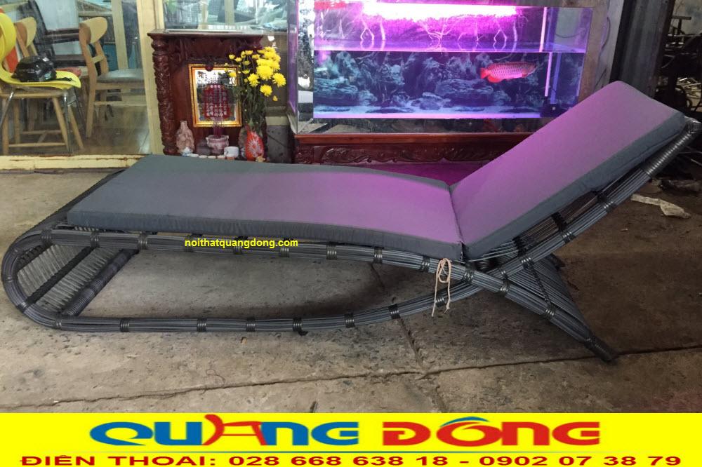 Ghế nằm hồ bơi giả mây khung nhôm sơn tĩnh điện chịu nước muối, kháng UV tia cực tím