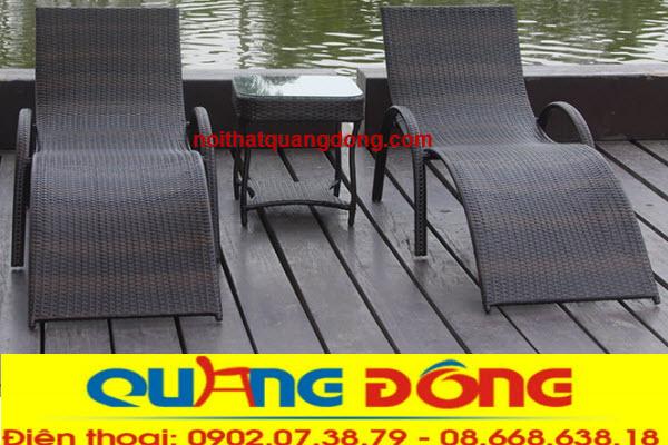 Ghế nằm hồ bơi giả mây cao cấp chịu mưa nắng, bền đẹp, nơi bàn ghế hồ bơi