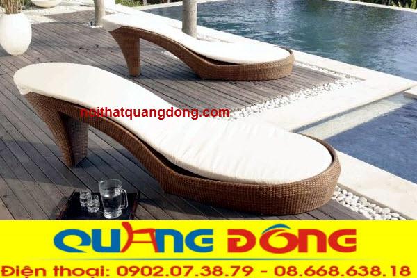 Mẫu ghế nằm hồ bơi bằng nhựa giả mây thiết kế kiểu dáng độc lạ, làm đẹp không gian ngoại thất