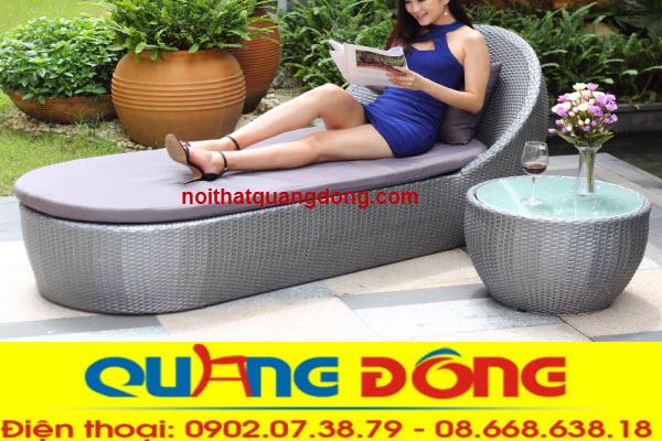 Mẫu ghế nằm hồ bơi bằng nhựa giả mây tuyệt đẹp cho bể bơi trang trí ngoại thất