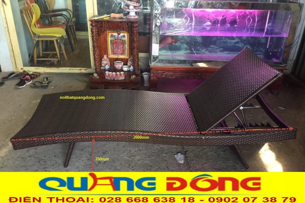 Ghế nằm hồ bơi QD-578 bằng nhựa giả mây có chất kháng UV tia cực tím chịu mưa nắng