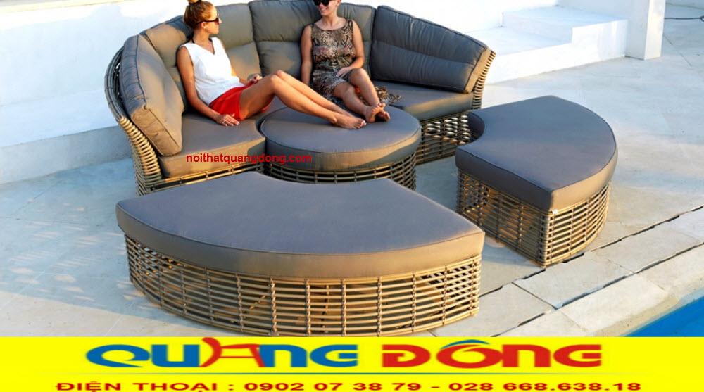 Mẫu giường tắm nắng QD-519 được thiết kế tháo giáp đa năng, bạn cũng có thể thay thế bộ sofa dùng cho ngoài trời tuyệt đẹp