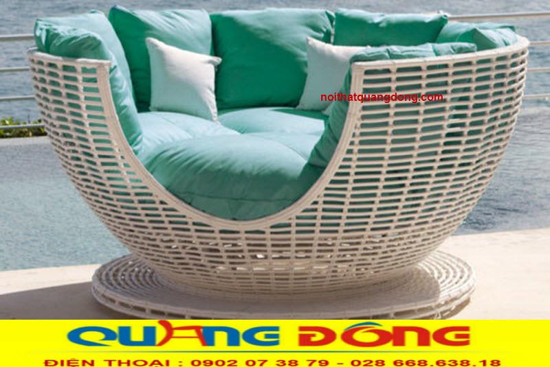 Giường tắm nắng QD-522 thiết kế độc lạ đẹp cho không gian ngoại thất