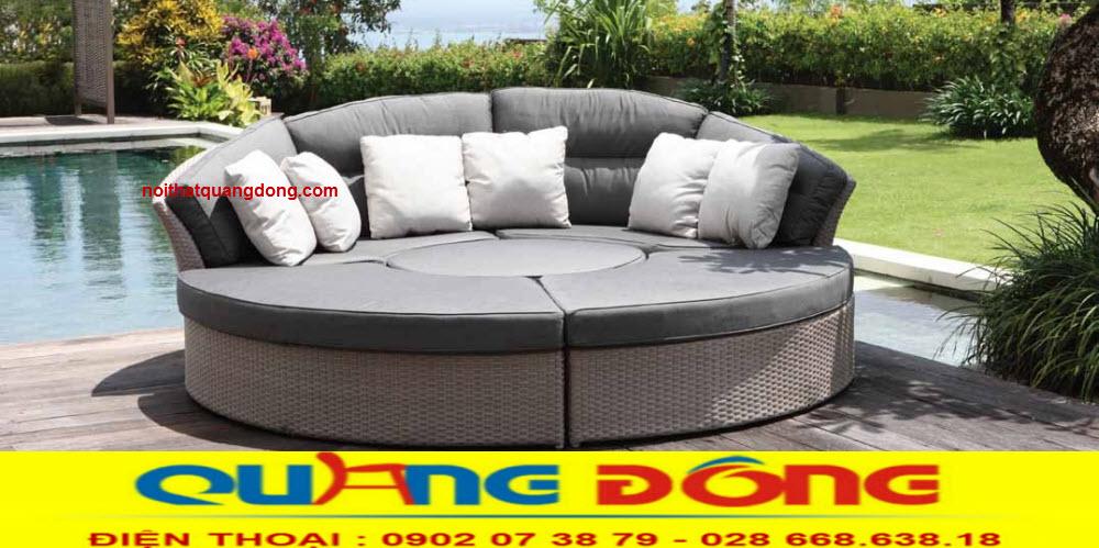 Giường tắm nắng QD-523 sản phẩm là mẫu giường nằm hồ bơi giả mây đẹp và tiện lợi